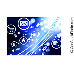 Original Vector Illustration: Fiber Optic cable internet background with online icons and buttons AI8 compatible