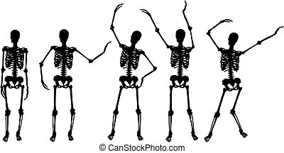 skeleton silhouette movements on white background - Original...