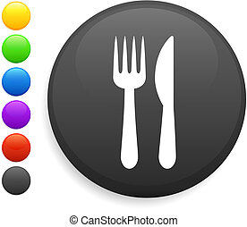 knife and fork icon on round internet button original vector...