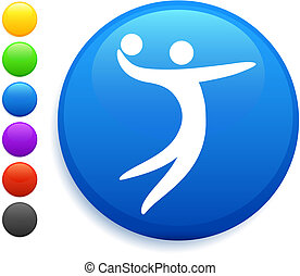 volleyball icon on round internet button original vector...