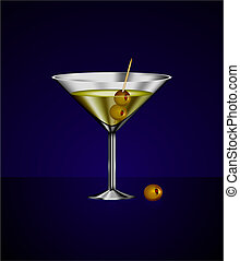 martini glass cocktail with olives - Original Vector...