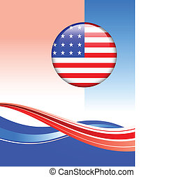 American Flag Button on abstract background
