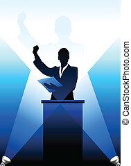 Business/political speaker silhouette behind a podium -...