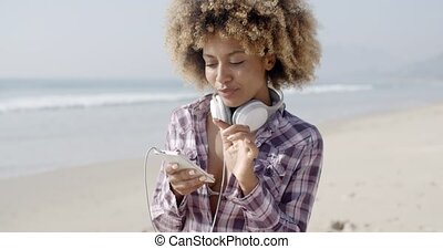 Gorgeous Girl Listening To Music - Beautiful girl listening...