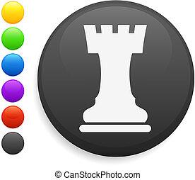 rook chess piece icon on round internet button original...
