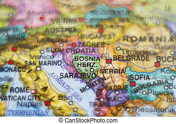 Bosnia and Herzegovina country map - Photo of a map of...