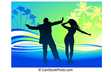young couple dancing on tropical background