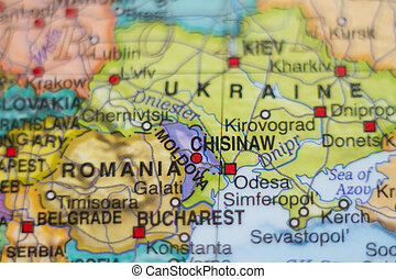 Moldova country map . - Photo of a map of Moldova and the...