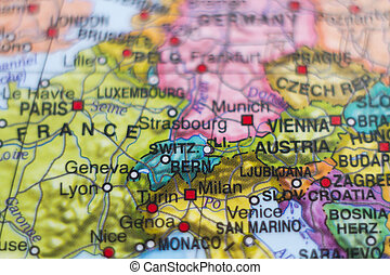 Switzerland country map - Photo of a map of Switzerland and...