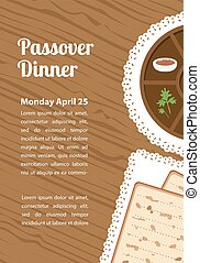 Passover dinner, seder pesach. table with passover plate and...