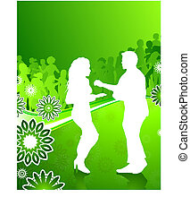 Sexy young couple dancing on floral summer background
