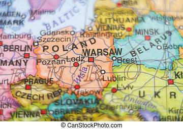 Poland country map . - Photo of a map of Poland and the...