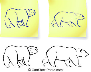 Polar bear drawings on post it notes