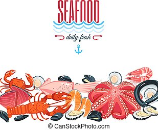 Background with cartoon food: seafood - tuna, salmon, clams,...