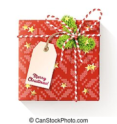 Red square christmas gift box with tag, decorated with red-and-white twisted cord, spruce twigs and gold star-shaped confetti. Vector illustration, isolated on white.