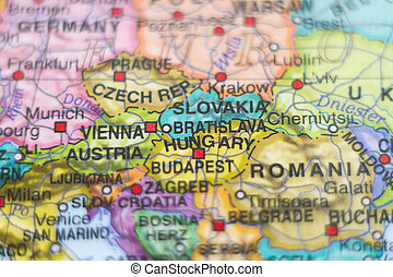 Slovakia country map . - Photo of a map of Slovakia and the...