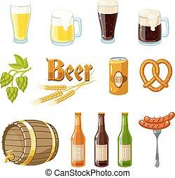 Set of cartoon beer: light and dark beer, mugs, bottles, hop cones, barley, beer keg, pretzel and sausages. Vector illustration, isolated on white, eps 10.
