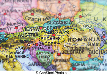 Hungary country map - Photo of a map of Hungary and the...