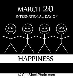Stick figures holding hands to show happiness-International...