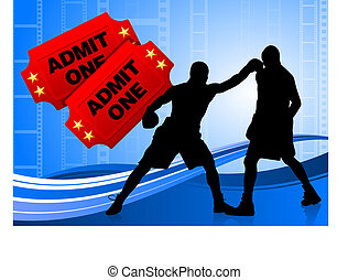 boxing on film tickets background