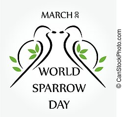 Two sparrows on twig- World sparrow day March 20