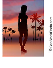 sexy woman on sunset background with trees