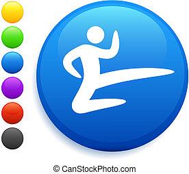 karate icon on round internet button