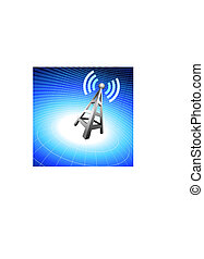 Radio tower icon waves on blue wire globe background
