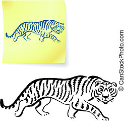 Tiger drawing on post it notes original vector illustration...