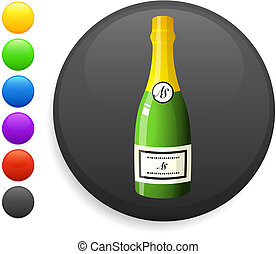 champagne icon on round internet button