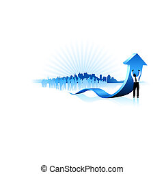 Original Vector Illustration: Businessman holding up blue...