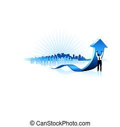 Original Vector Illustration: Businessman holding up blue...