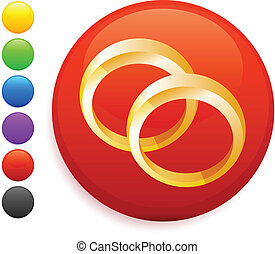 wedding rings icon on round internet button