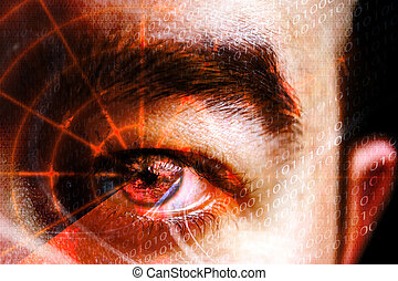 Cyber Crime Eye - Abstract montage of a mans eye with a...