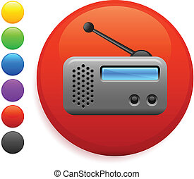 radio icon on round internet button