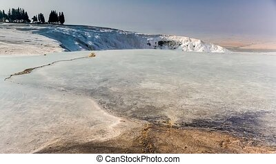 Natural sightseeing place of white terraces in Pamukkale,...