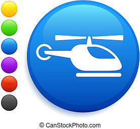helicopter icon on round internet button