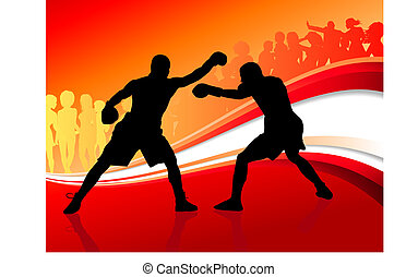 boxing on abstract red background