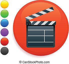 film clapper icon on round internet button