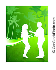 Sexy young couple dancing on palm trees summer background