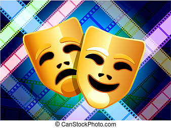 comedy and tragedy masks on multi color film reel background...