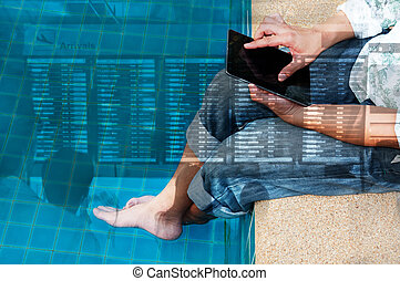 Double Exposure of Man Use Wireless Digital Tablet to Check...