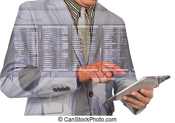 Double exposure of a businessman and a city using a tablet...