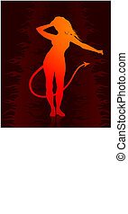 sexy devil woman on dark internet background with skeletons