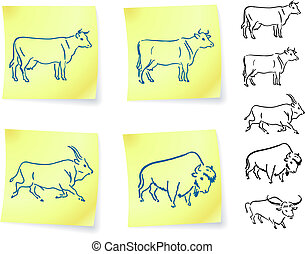 cow buffalo and bison on post it notes original vector...