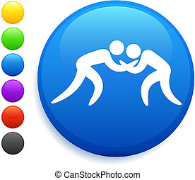 wrestling icon on round internet button original vector...