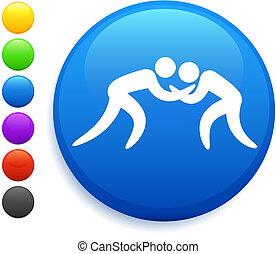wrestling icon on round internet button original vector...
