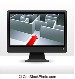 business maze with arrow on computer screen internet background