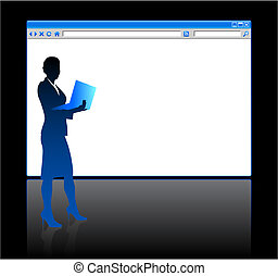 Businesswoman on background with web browser blank page -...