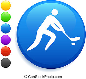 hockey icon on round internet button original vector...